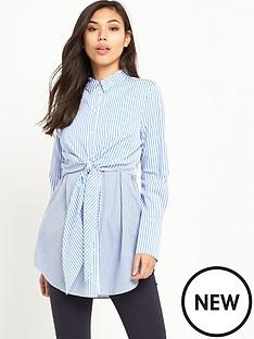 warehouse-tie-front-stripe-shirt-blue