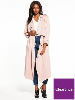 3af84c020c8de V by Very Drape Duster Coat - Pale Pink | littlewoods.com