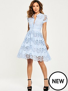 myleene-klass-tiered-lace-skater-dress-blue