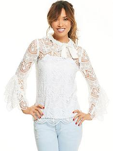 myleene-klass-lace-and-bow-sleeve-blouse-ivory