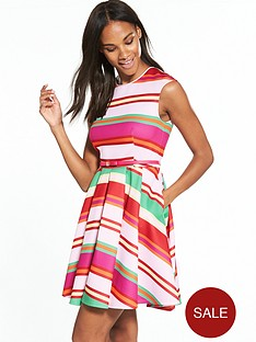 ted-baker-pier-stripe-skater-dress-fuchsia