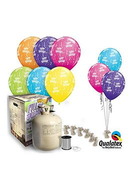 Tropical Colour Happy Birthday Helium Canister &Amp Balloon Kit