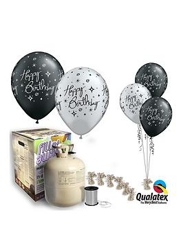 Black &Amp Silver Happy Birthday Helium Canister &Amp Balloon Kit