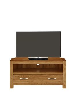 Luxe Collection  Suffolk 100 Solid Oak Ready Assembled Corner Tv Unit  Fits Up To 42 Inch Tv