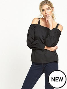 warehouse-warehouse-cold-shoulder-top