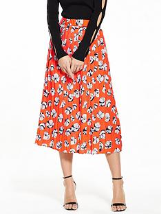 warehouse-floating-floral-pleated-skirt-orange