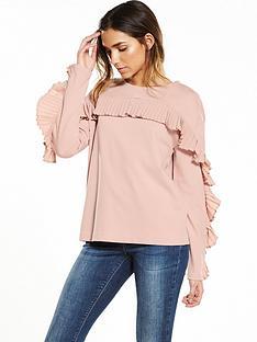 warehouse-frill-sweat-pink