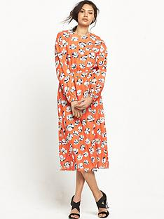warehouse-floating-floral-midi-dress-orange