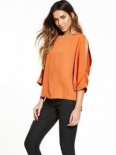 warehouse-slash-sleeve-top-burnt-orange