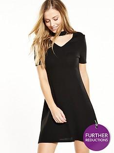 v-by-very-petite-petite-keyhole-knitted-dress-black