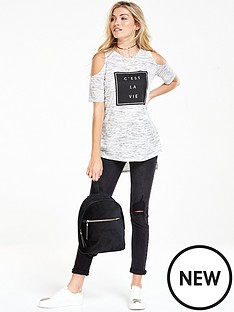 v-by-very-slogan-cold-shoulder-tee