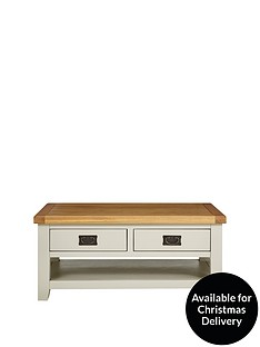 Luxe Collection Oakland Painted 100 Solid Wood 2 Drawer Coffee Table