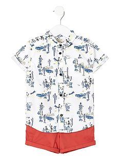 river-island-mini-boys-skeleton-shirt-and-chino-shorts-set