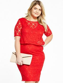 V By Very Curve Double Layer Lace Midi Dress  Red