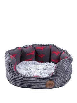 petface-deli-bed-grey-bamboo-amp-jumbo-cord-19-inch