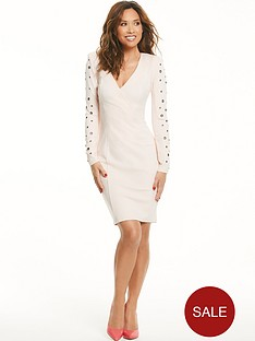 myleene-klass-eyelet-sleeve-blazer-dress-nude-pink
