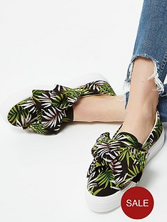 river-island-bow-detail-printed-plimsoll