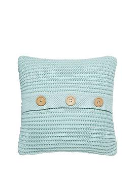 Catherine Lansfield  Knitted Cushion In Duck Egg