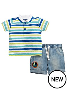ladybird-baby-boys-laundered-effect-stripe-polo-amp-denim-short-set