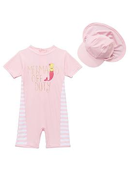 Mini V By Very Toddler Girls Mermaid Off Duty Sunsafe &Amp Hat