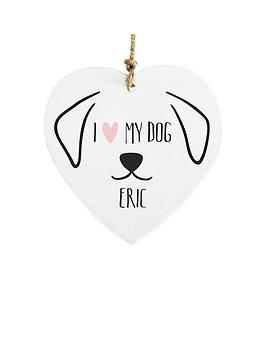 Personalised I Love My Dog Wooden Hanging Heart
