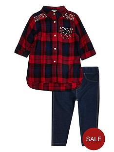 river-island-mini-girls-tartan-shirt-and-jeggings-set