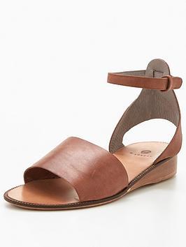 Hudson London Hudson Fifa Calf Leather Low Wedge Sandal