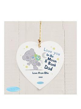 Tiny Tatty Teddy Tiny Tatty Teddy Blue Moon &Amp Back Wooden Hanging Heart