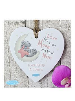 Tiny Tatty Teddy Tiny Tatty Teddy Pink Moon &Amp Back Wooden Hanging Heart