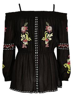 river-island-girls-black-floral-embroidered-bardot-top