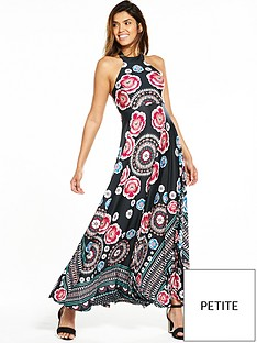 v-by-very-petite-placement-print-halter-maxi-dress