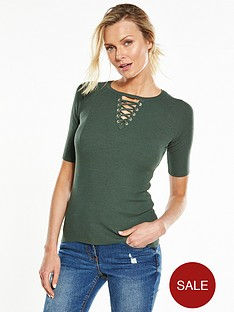 v-by-very-lace-up-half-sleeve-jumper-khakinbsp