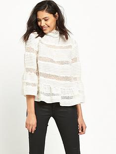 miss-selfridge-pintuck-and-lace-insert-blouse