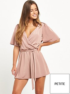 miss-selfridge-petite-angel-sleeve-playsuit-nude