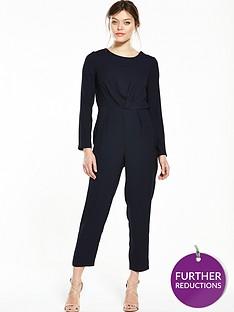miss-selfridge-tie-back-jumpsuit-navy