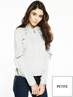 miss-selfridge-petite-frill-shirt-grey
