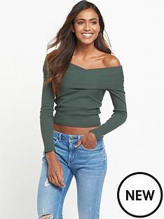miss-selfridge-long-sleeve-rib-x-front-bardot-top-khaki
