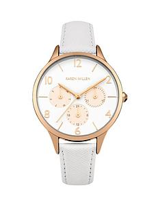 karen-millen-white-matte-dial-rose-gold-sub-dials-white-saffiano-leather-strap-ladies-watch