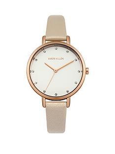 karen-millen-white-sunray-dial-cream-pearlised-leather-strap-ladies-watch