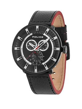 Police League Black Multi Dial Black Leather Strap Mens Watch