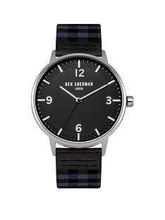 ben-sherman-black-dial-check-grey-amp-navy-fabric-strap-mens-watch