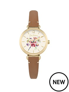 cath-kidston-mallory-bunch-off-white-pastel-printed-dial-tan-leather-strap-ladies-watch