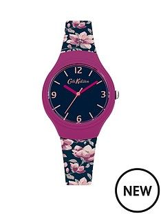 cath-kidston-magnolia-navy-matte-dial-navy-floral-printed-graphic-silicone-strap-ladies-watch