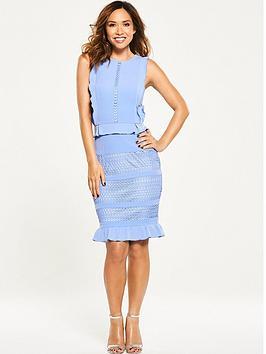 Myleene Klass Ruffle Front Lace Pencil Dress