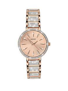 seksy-rose-tone-dial-stone-bezel-ladies-watch