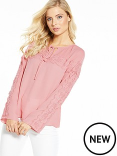 v-by-very-lace-insert-crinkle-blouse
