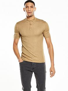 river-island-knitted-muscle-fit-ribbed-polo