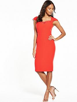 V By Very Lace Sweetheart Pencil Dress  Red