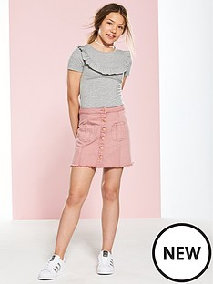 v-by-very-button-front-mini-denim-skirt