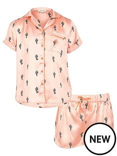 river-island-girls-pink-cactus-shirt-and-shorts-pyjama-set